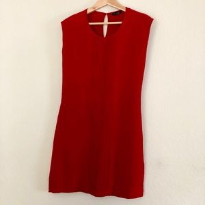 Massimo Dutti cap sleeve dress with pleated front